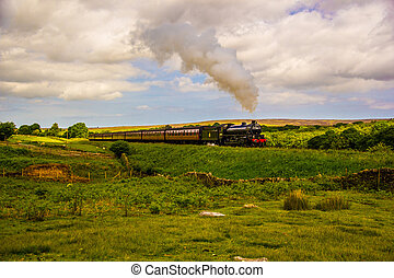Steaming through North Yorkshire - Steam loco working its...