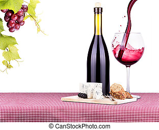 picnic with wine and food - picnic lunch on a red and white...