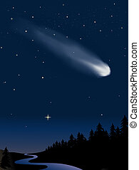 Comet in the night sky over the woods