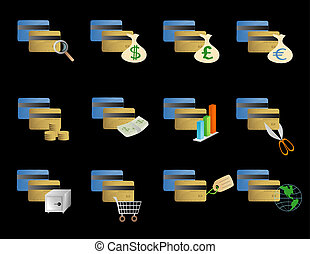 Various credit card icons - vector based illustration of...