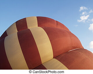 Semi-inflated balloon - Detail of brown and beige hot-air...