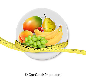 Diet meal. Fruit in a plate with measuring tape. Concept of diet. Vector illustration
