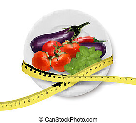 Diet meal. Vegetables in a plate with measuring tape. Concept of diet. Vector illustration