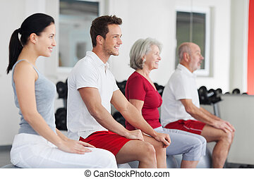 Diverse group in a fitness studio or gym - Diverse group of...