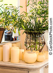 Mediterranean interior - flowers and candles - Mediterranean...
