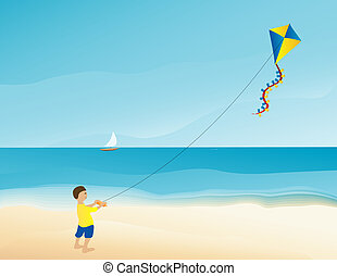 Boy flying kite on the beach - Vector illustration of a boy...