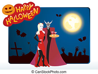 Vector halloween card with girl and devil