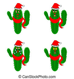 Funny christmas cacti. Vector-art illustration on a whte...