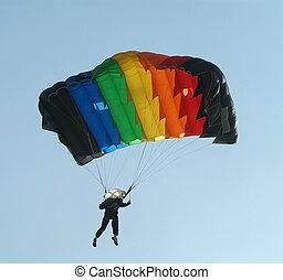 Parachute, parachutiste, coloré