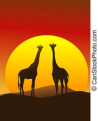 Giraffe Silhouette Vertical Composition - Silhouette of...