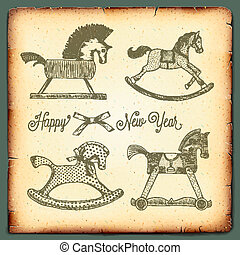 New Year vintage card with rocking toys horses - New Year...