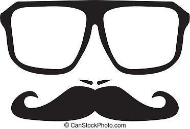 vector, hombres, cara, bigote