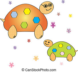 Cartoon turtle. Coloring book. Vector illustration.