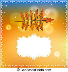 Autumn card with falling leaf and bokeh lights