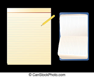 Notebooks - illustration of common notebooks on a black...