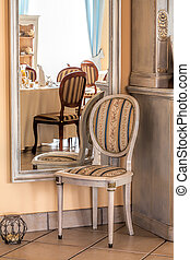 Mediterranean interior - mirror and chair - Mediterranean...