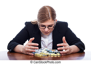 Woman with many pills - Business woman with many pills,...