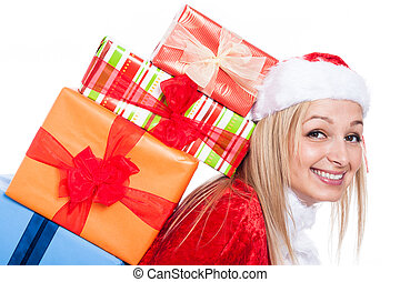Closeup of Christmas woman with many presents