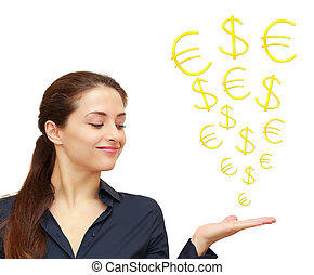 Business woman holding on hand and looking on dollar and...