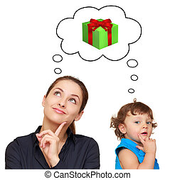 Happy mother and baby girl thinking about present gift in...