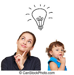 Thinking young woman and cute child with idea bulb above isolated on white  background
