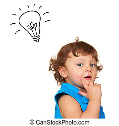 Thinking baby girl with idea light bulb above head isolated...