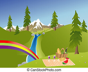 Picnic in the Mountains - Picnic in the mountains with a...