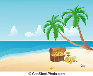 Pirate Treasure - Pirate treasure on a tropical beach with...