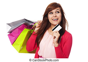 sacolas, mulher,  shopping, crédito, sonhar, cartão