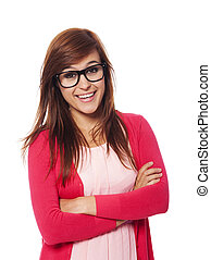 Portrait of smiling woman with fashion glasses