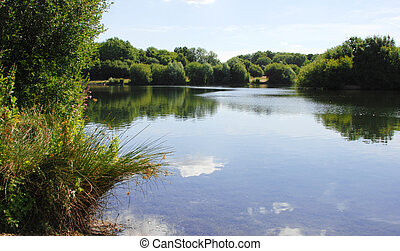 Peaceful lake view in Kent, England - Barden lake at Haysden...