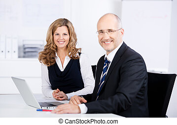 Two business colleagues at work