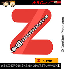 letter z with zipper cartoon illustration - Cartoon...