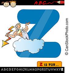 lettera, Z, zeus, cartone animato, illustrazione