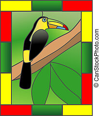 Toucan in the Jungle - Stained Glass style illustration of a...