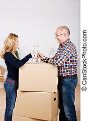 posición, cartón, apilado, pareja, mientras, Cajas, nuevo,...