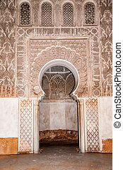 Ben Yussef Medersa door at Marrakech, Morocco - Ben Yussef...