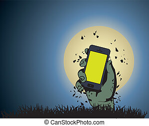 Zombie Hand holding the phone in Moonlight