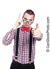 Serious geek pointing