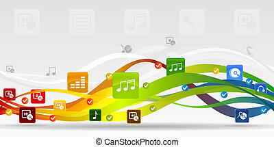 Media mobile applications vector abstract background