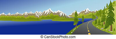 Summer mountain Road and Lake