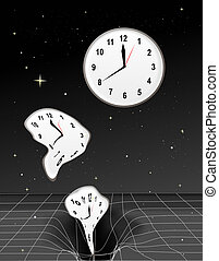 Time Warp - Clocks getting warped and falling into a black...