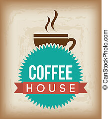 coffee house - coffee house over brown background vector...
