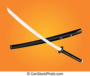 Katana - katana on an orange background with a cover