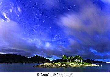 Stars sky at lake