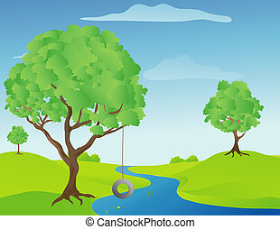 Tree Swing - Illustration of a tree swing by a stream on a...