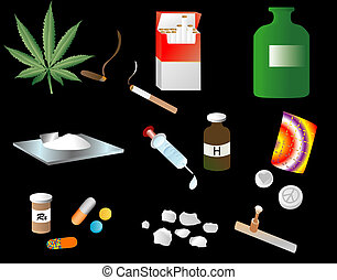 Vices - Illustration depicting various vices of drugs and...