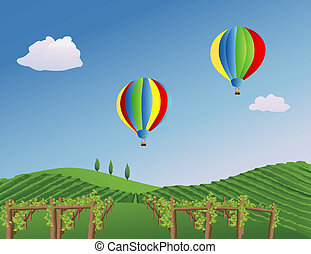 Balloons over a Vineyard - Balloons drifting over a vineyard...