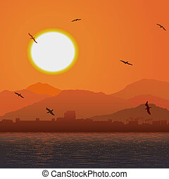 Orange sunset ocer coast. - Vector illustration background...