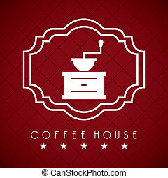 coffee house over red  wine background vector illustration